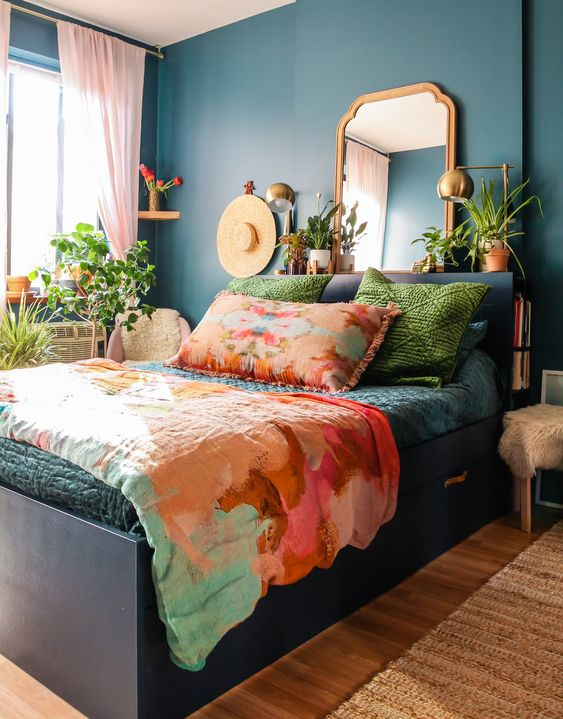bohemian inspired bedroom with small double bed